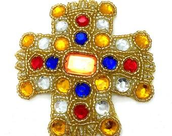 "Sale! Renaissance Cross Applique, Acrylic Stones and Beads, 3.5"" x 3.5""  -B196"
