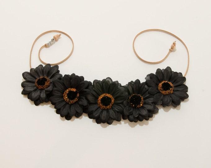 Black Daisy Flower Crown
