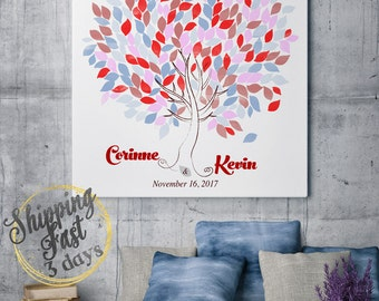 Wedding Tree Guest Book   Wedding Guest Book Tree   Personalized Wedding Print   50-300 Guests   Canvas or Flat Print   Pink  Blue Wedding