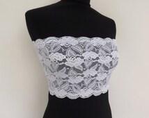White lace bandeau top. Elastic floral lace strapless. Lace lingerie. Sheer top. bridal underwear. Wedding Lingerie. See through bandeau