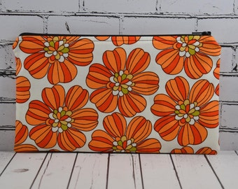 Retro 70's Inspired Orange Floral Pencil Case, Flower Zipper Pouch, Small Floral Makeup Bag