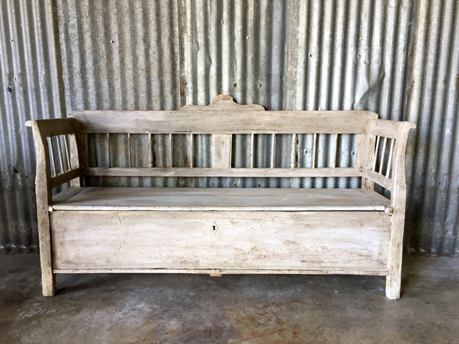 Reserved For Andrew Vintage Storage Bench Antique By Surgeatx