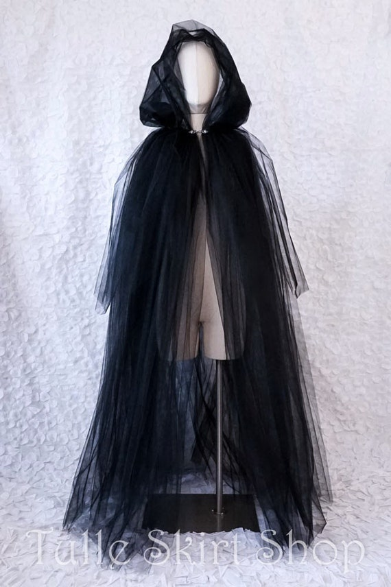 Long Tulle Cape With Hood Halloween Costume For Witch