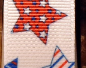 "2 Yards 7/8"" Patriotic Patterned Star Print Grosgrain Ribbon"