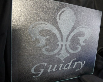 Glass Etched Cutting Board Personalized Monogram Name