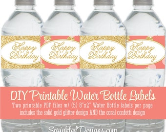 Printable Water Bottle Labels - Happy Birthday Coral Gold Glitter Drink Wraps Wrapper Girl Birthday - INSTANT DOWNLOAD