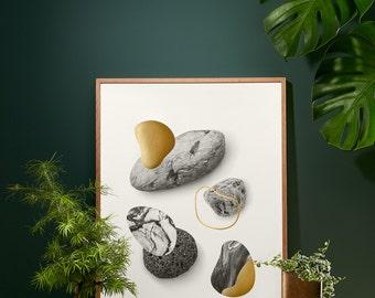 Rocks in gold