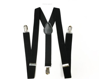 Men's suspenders, black suspenders, black tuxedo event, men suspenders, black suspender, mens suspenders, classic black