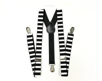 Men's suspenders, black suspenders, striped suspenders, suspenders, black and white suspenders, black and white stripes