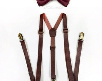 Brown Suspenders, brown leather suspenders, cranberry bowtie, Men's Suspenders, Barnyard Wedding, Groomsmen, burgundy, red wine bowtie
