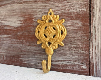 Gold Ornate Hook - Necklace Holder - Leash Hook - Gold Bathroom Decor - Key Hook for Wall - Jewelry Hanger - Decorative Wall Hook