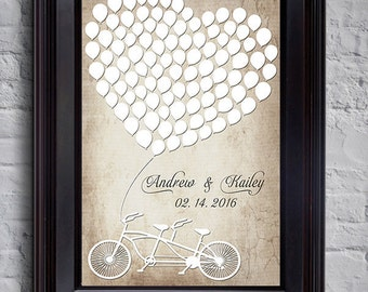 Rustic Wedding Poster GuestBook Alternative Vintage Guest Book Wedding Guestbook Heart guest book Bike Balloon Guestbook Sign in board Heart