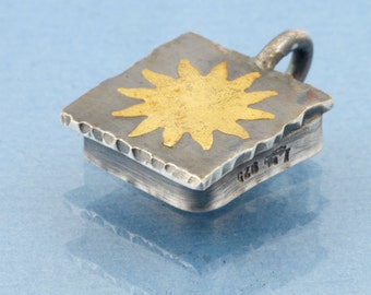 Sun and Star necklace pendant fine gold on fine silver Keum Boo