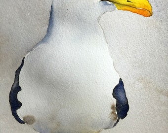 watercolor bird painting bird art original watercolor Seagull by Betty Moore