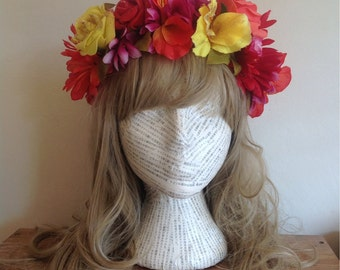 SALE! Miami summer flower hair garland, bright pink, orange, orange floral