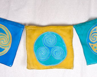 "Handpainted Silk Celtic Spirals ""Prayer"" Flags in blue and turquoise and green"