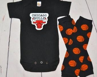 Chicago Bulls Onesie and Legwarmers set! Baby Boy Basketball Set