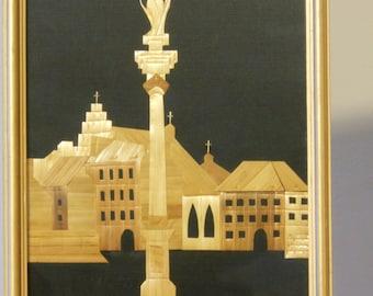 Polish Folk Art Straw PIcture: Kolumna Zygmunta (Sigismund's Column--Warsaw)