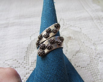 Vintage Mexican sterling bypass ring size 9 signed Taxco