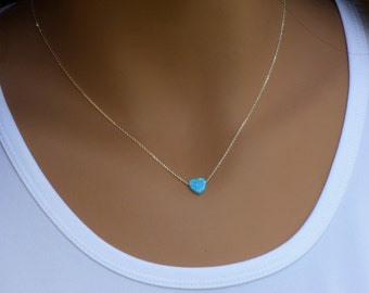 Heart Necklace, Blue\White Opal Heart Necklace, Opal Heart Necklace, Dainty Heart Necklace ,Tiny Opal Heart Necklace , Tiny Heart Necklace.