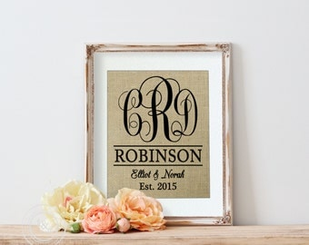 Personalized Burlap Wedding Print, Personalized Gift, Monogrammed Burlap Wedding Print, Wedding Burlap Print, wedding gift, engagement gift