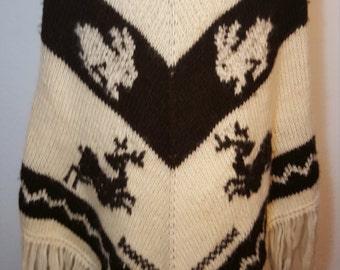 FREE  SHIPPING   Vintage  Wool  Boho  Knit Poncho