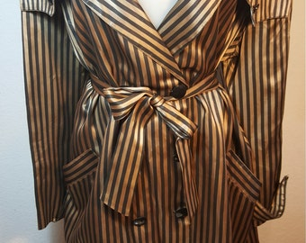 FREE  SHIPPING   Vintage Satin Trench Coat