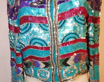 FREE  SHIPPING  Vintage Sequin Bead Silk Jacket