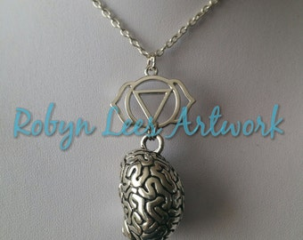Silver Chakra Ajna Agnya Necklace with 3D Silver Anatomical Brain Pendant on Silver Crossed Chain, Third Eye, Wisdom, Knowledge