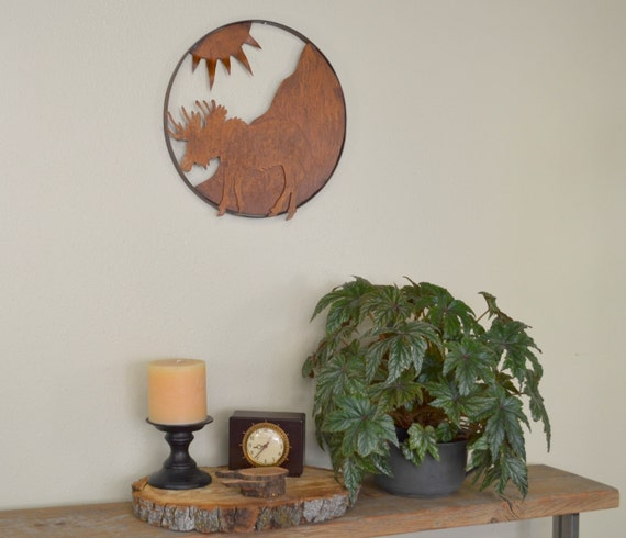 moose in the mountains metal wall sculpture wall