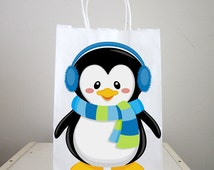 Penguin Goody Bags, Penguin Favor Bags, Penguin Party Bags, Winter Onederland Favor, Goody, Gift Bags, Boy Penguin