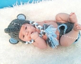 newborn elephant outfit, baby boy,elephant hat, blue elephant hat, crochet elephant set, newborn elephant photo prop,boy elephant hat