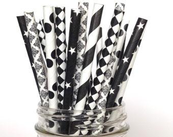 Black Paper Straws 5 varieties Black polka dot Black Star, Black damask, harlequin Black striped straws black party decorations Graduation