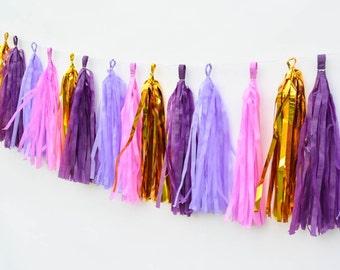 Purple Lilac Garland Kit Plum Purple Tassel garland lavender lilac wedding decor plum lavender party decor gold purple garland purple gold