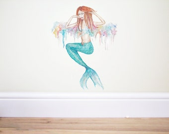 Mermaid Wall Decal,Mermaid sticker,Mermaid art,girls mermaid decal,ocean nursery,nursery wall decal,under the sea,Rainbow decal,wall decor