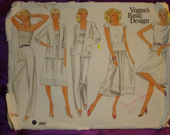 1980s 80s Vintage Camisole Top Jacket Skirt n Pants Ideal for Scalloped Eyelet Fabric UNCUT Vogue Pattern 2687 Bust 31.5 Inches 80 Metric