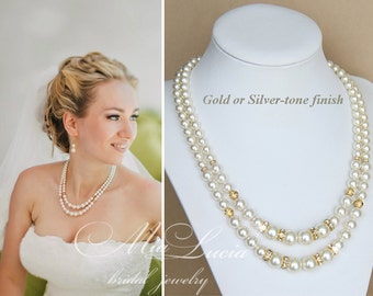 Ivory Wedding Necklace, Pearl Necklace, Wedding Necklace, Bridal Jewelry, Gold Bridal Jewelry, Wedding Jewelry, Bridal Necklace art. n03