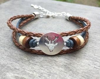 Deer Bracelet - Stag bracelet - nature bracelet woodland bracelet reindeer bracelet boho bracelet bohemian bracelet hippie bracelet