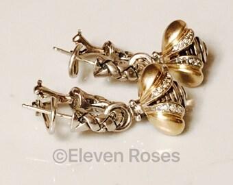 Saint Sarah Jane Devora Bee Dazzle Drop Diamond Woven Hoop Earrings 925 Sterling Silver 750 18k Gold