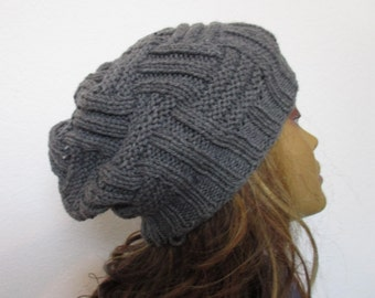 Beanie, hand knitted, women, winter warm, slouchy, beanie hat
