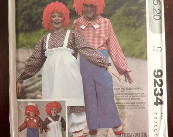 Vintage Sewing Pattern McCall's 9234 - Halloween Raggedy Ann & Andy Costume for Women or Men - Adult Size Large (40-42) - UNCUT