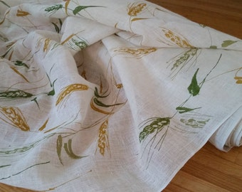 New Old Stock Hand Printed Imported Linen Fabric- sold BY THE YARD