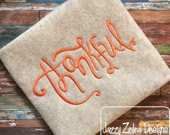 Thankful Word Saying Embroidery Design - Thanksgiving Embroidery Design