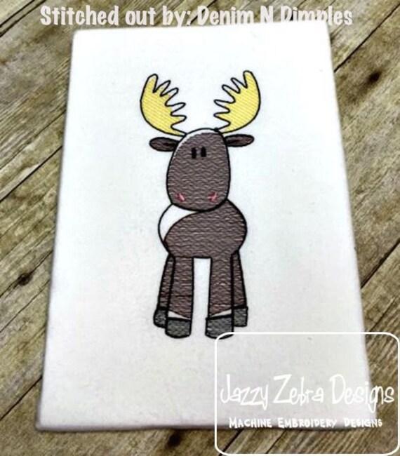 Moose Sketch Embroidery Design