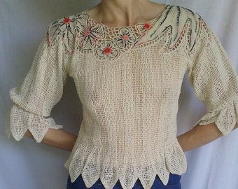 Crochet Handmade Peplum Woman's Top, STUNNING