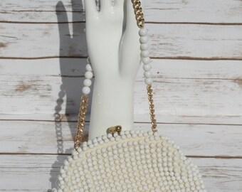 Vintage White Beaded Purse Evening Bag Wedding Clutch