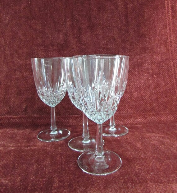 Vintage Crystal Cut Wine Glasses Faceted Stem By