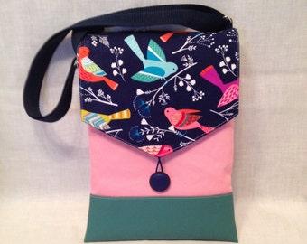 Junior purse: Bird print bag with zipper closure and adjustable strap