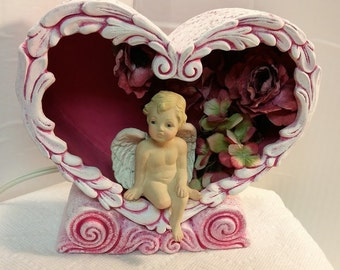 Lighted Scroll Heart on a Base