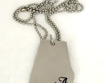 University of Alabama Silver State Necklace
